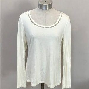 NWT Ivory TALBOTS Studded Neckline Knit Pullover S